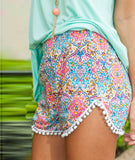 Colorful Flower Print Fur Ball Casual Women's Shorts