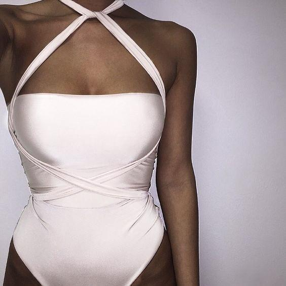 Pure Color Cross Wrap Bandage One Piece Swimwear