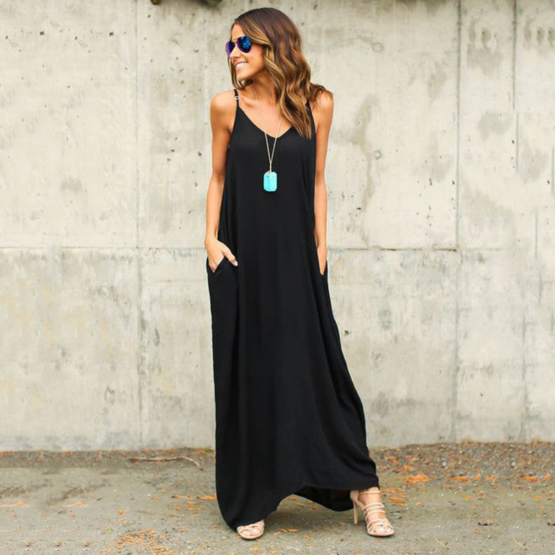 Irregular Pure Color Spaghetti Strap Long Loose Dress - May Your Fashion - 2