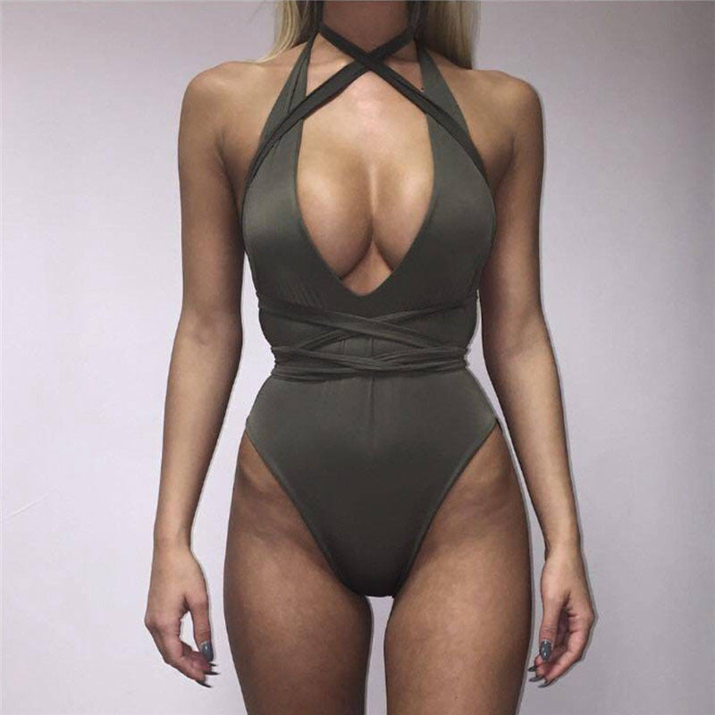 Pure Color Halter Deep V-neck Bandge Swimwear