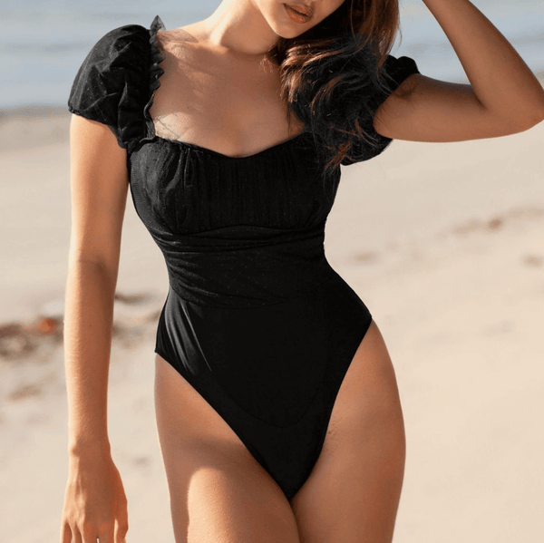Black Puff Sleeves Flapper Mesh High Cut Swimsuits