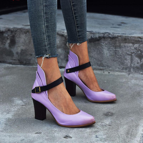 Buckle Leather Point Toe Fashion Chunky High Heels