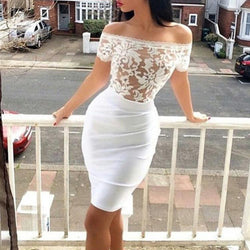 Free Shipping,Clearence Lace Patchwork Bodycon Off-shoulder Strapless Sexy Dress