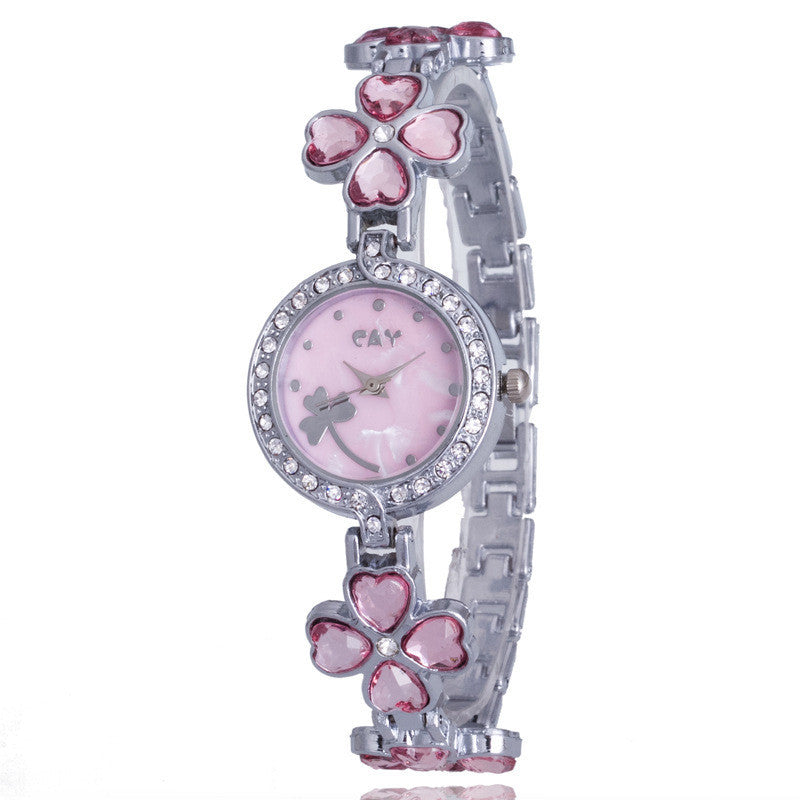 Crystal Clover Bracelet Watch