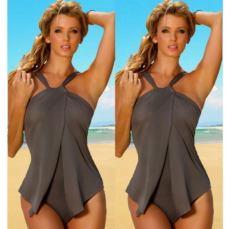 Summer Sexy Beach Gray Stretch One Pieces Swimwear