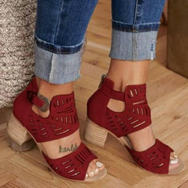 Peep Toe Cutout Leather High Chunky Heel  Sandals