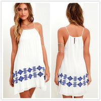 Bear Shoulder Spaghetti Straps Loose Print Short Dress