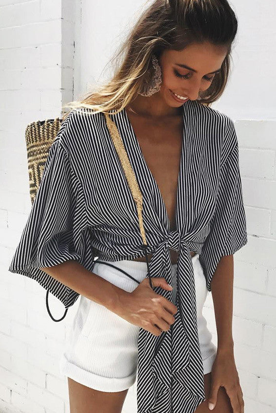 Stripe V-neck Straps Bandage Half Sleeves Blouse
