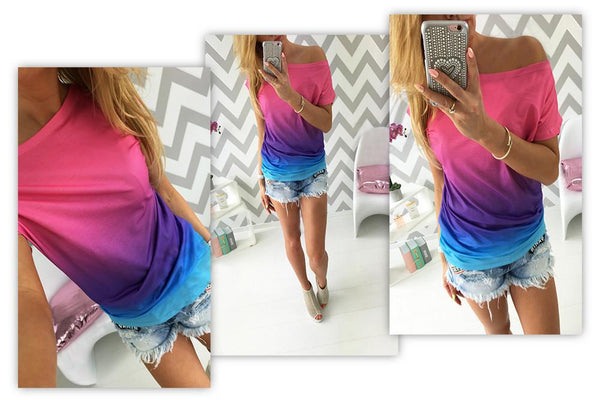 Free Shipping Gradually Changing Color Short Sleeves Scoop Casual T-shirt