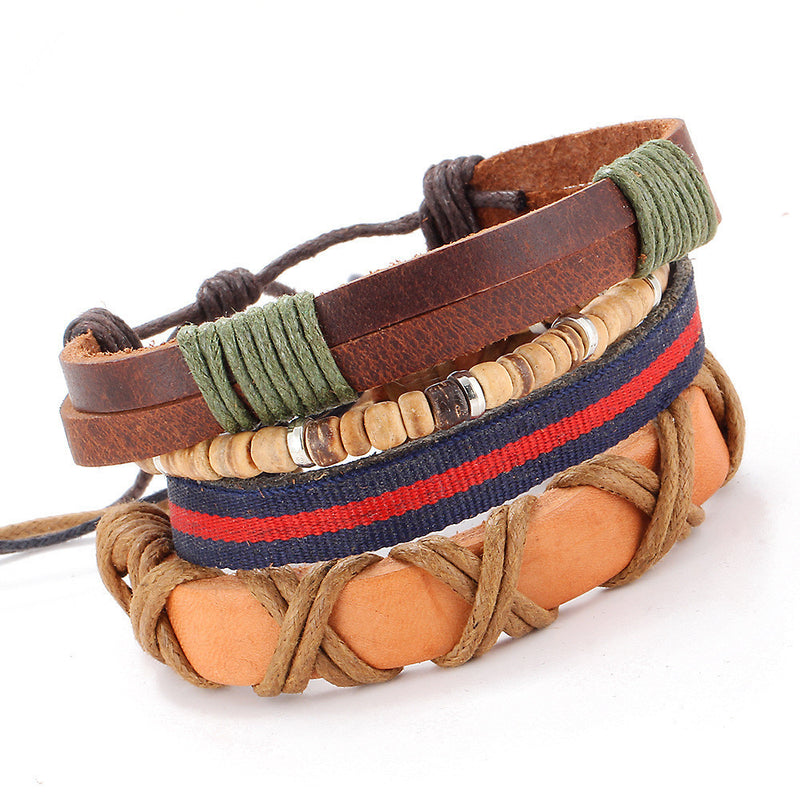 Overlapping Layers Hand Woven Leather Bracelet
