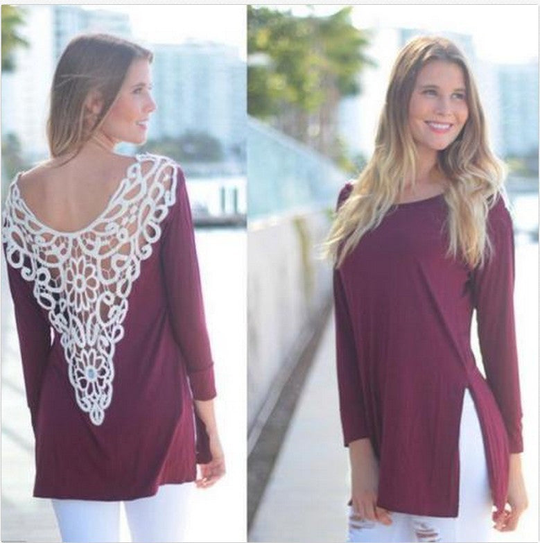 Sexy Lace Hollow Out Back Long T-shirt