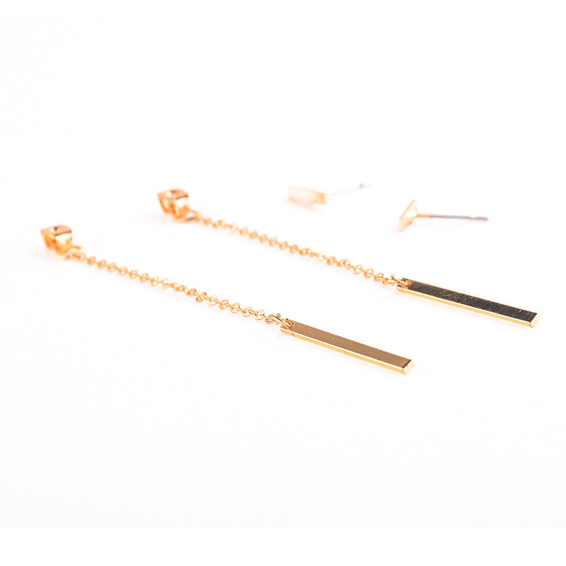 Copper Strip Tassel Earrings