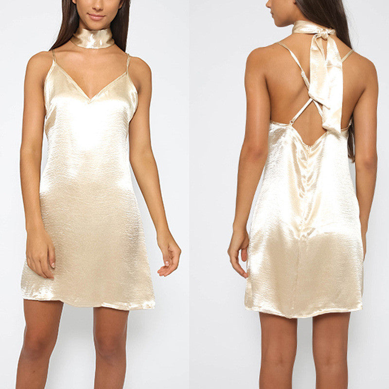 Sexy Backless Spaghetti Strap Lustrous Loose Short Dress