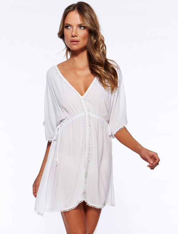 White Chiffon Halter V-neck Short Cover Up Dress