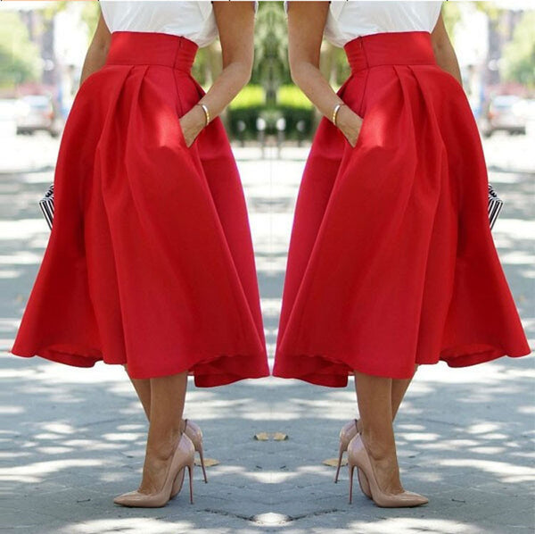 High Waist Pleated Solid Long Skirts - May Your Fashion - 2