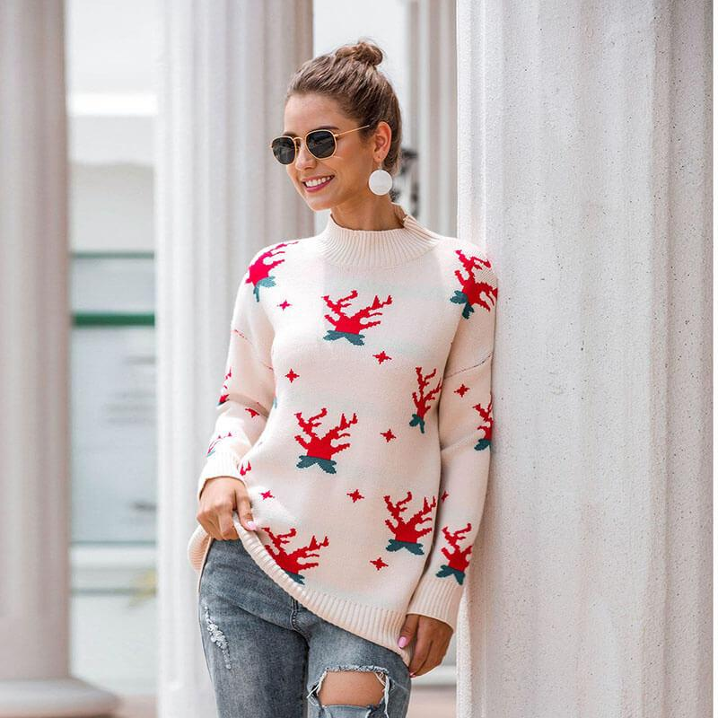 Ugly Christmas Reindeer Mock Neck Sweater