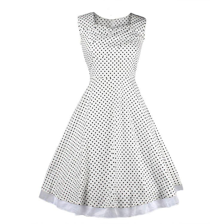 Print Sleeveless Solid Pleated High-waist Square Neck Dress - Meet Yours Fashion - 8