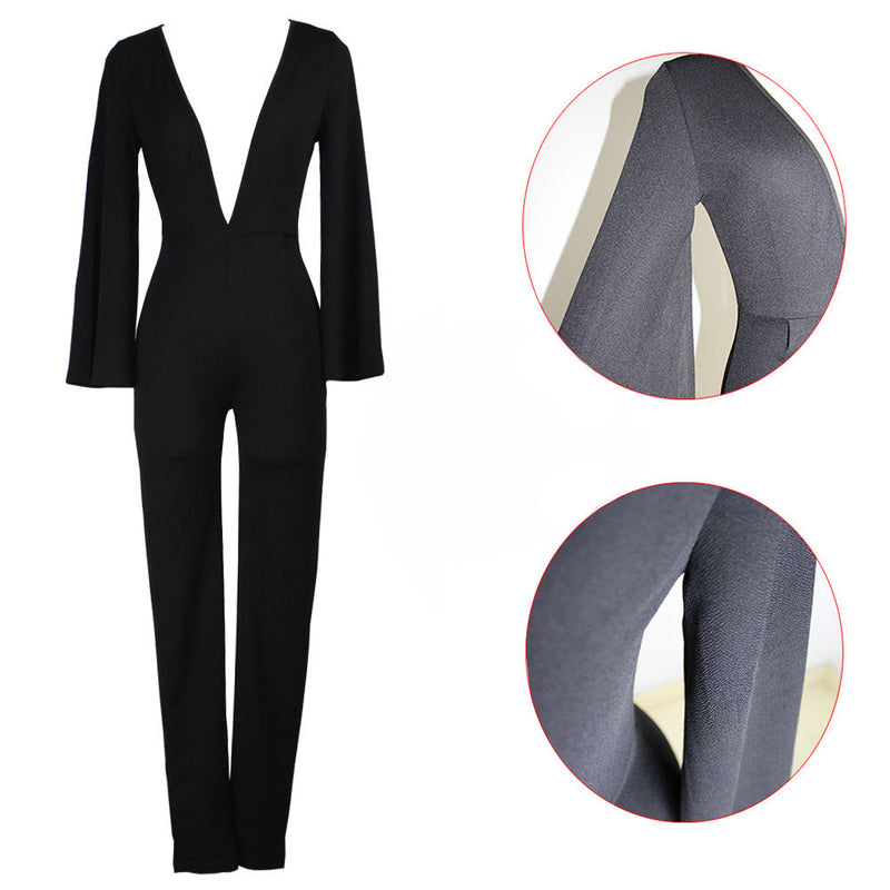 Deep V-neck Long Split Sleeve High Waist Slim Long Jumpsuit