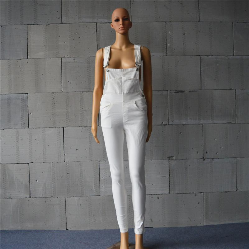 High Waist Pure Color Denim Overall Long Jumpsuit
