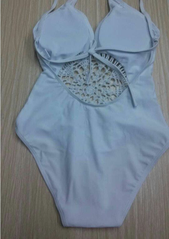 Pure Color Flower Hollow Out Spaghetti Strap Swimwear