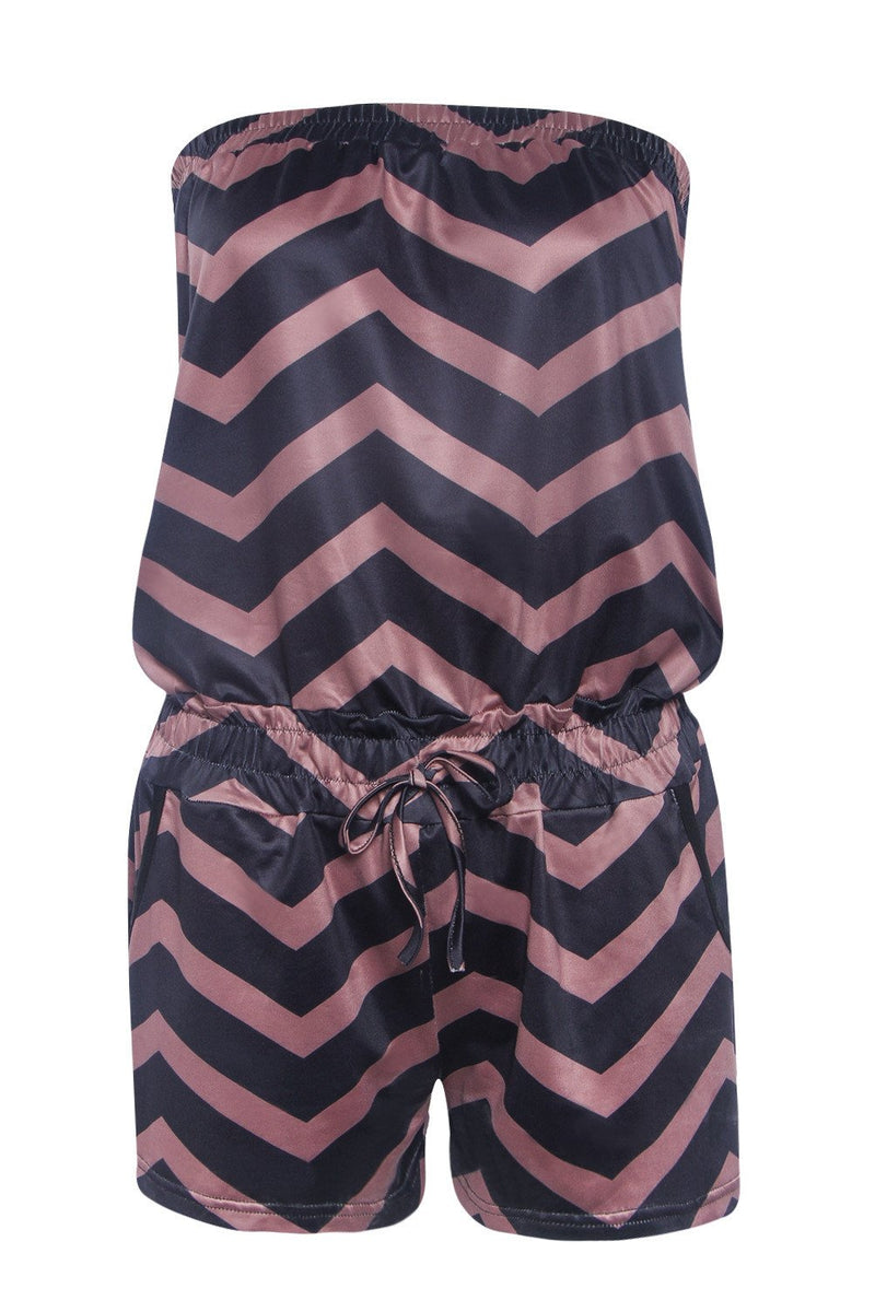 Strapless Stripe Print Elastic Waist Short Beach Jumpsuit