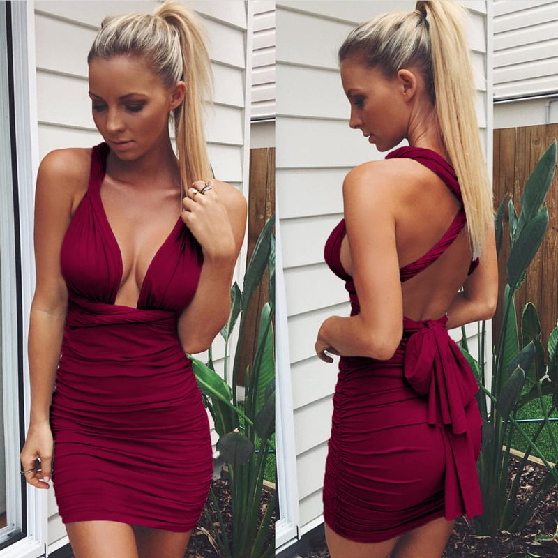 Sexy Backless Stretch Twisted Rope Club Dress