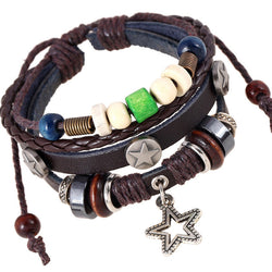 Star Pendant Multilayer Leather Bracelet