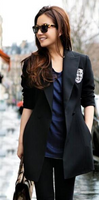Badge Patchwork Long Sleeves Double Buttons Plus Size Long Coat