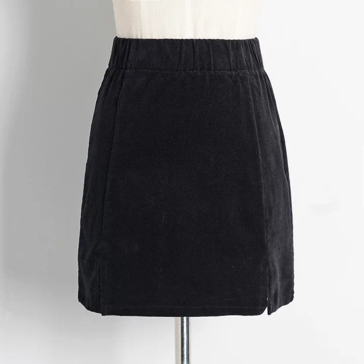 High Waist Pure Color Split Corduroy Slim Short Skirt