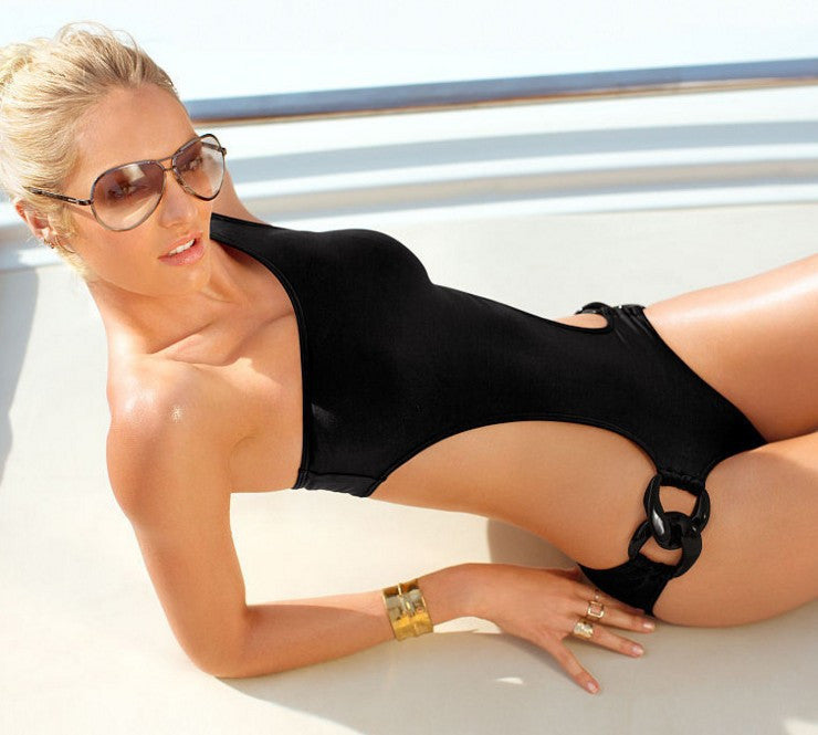 Pure Color Hollow Out One Shoulder Buckle One Piece Swimwear