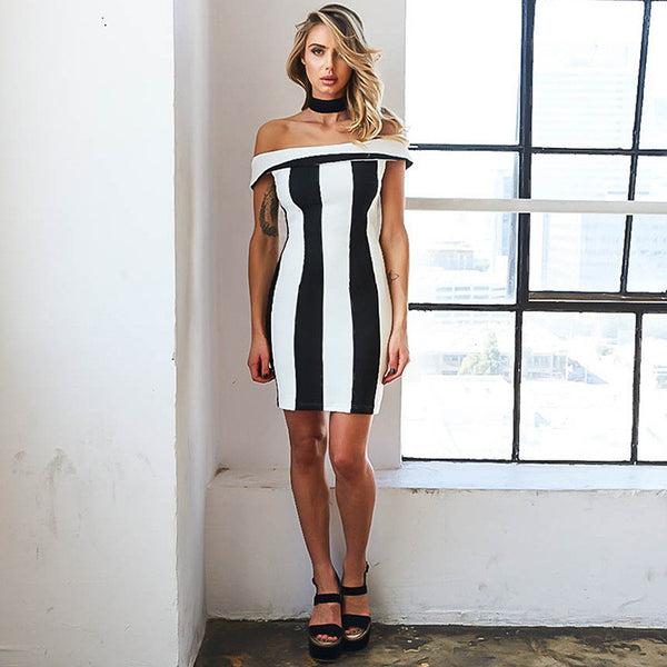 Sexy Black and White Stripes Off Shoulder Slim Package Hip Dress