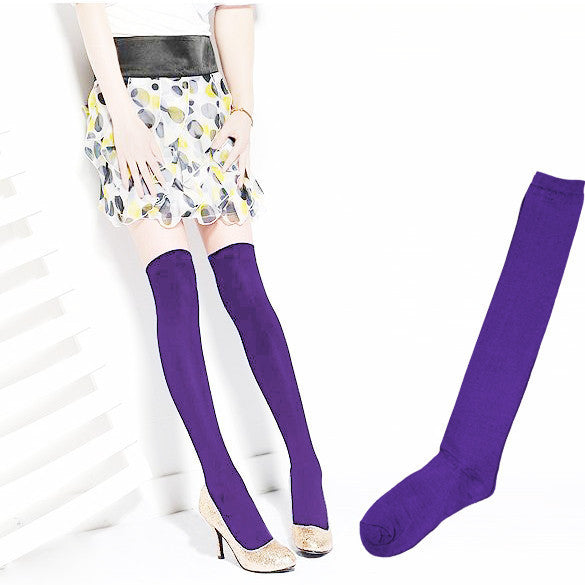Over the Knee Thinner Cotton Socks - May Your Fashion - 3