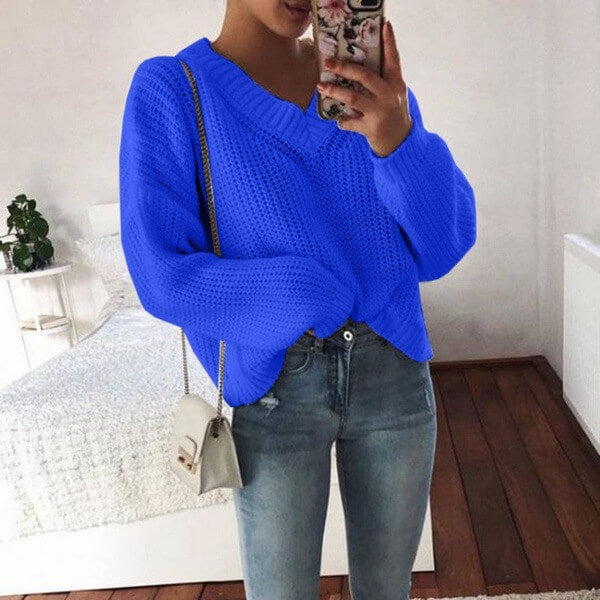 Simple Oversized V Neck Long Sleeve Sweater