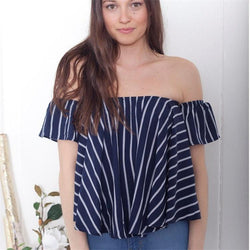 Sexy Stripe Off-Shoulder Short Sleeve Loose T-shirt