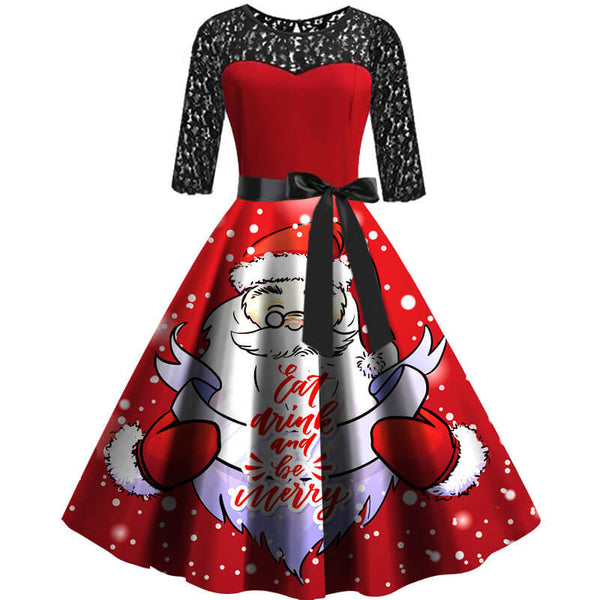 Christmas Cute Santa Print Retro Lace Splice Swing Dress