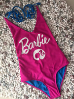 Brazil's Style Sexy Pink Letter Print One Piece Swimwear