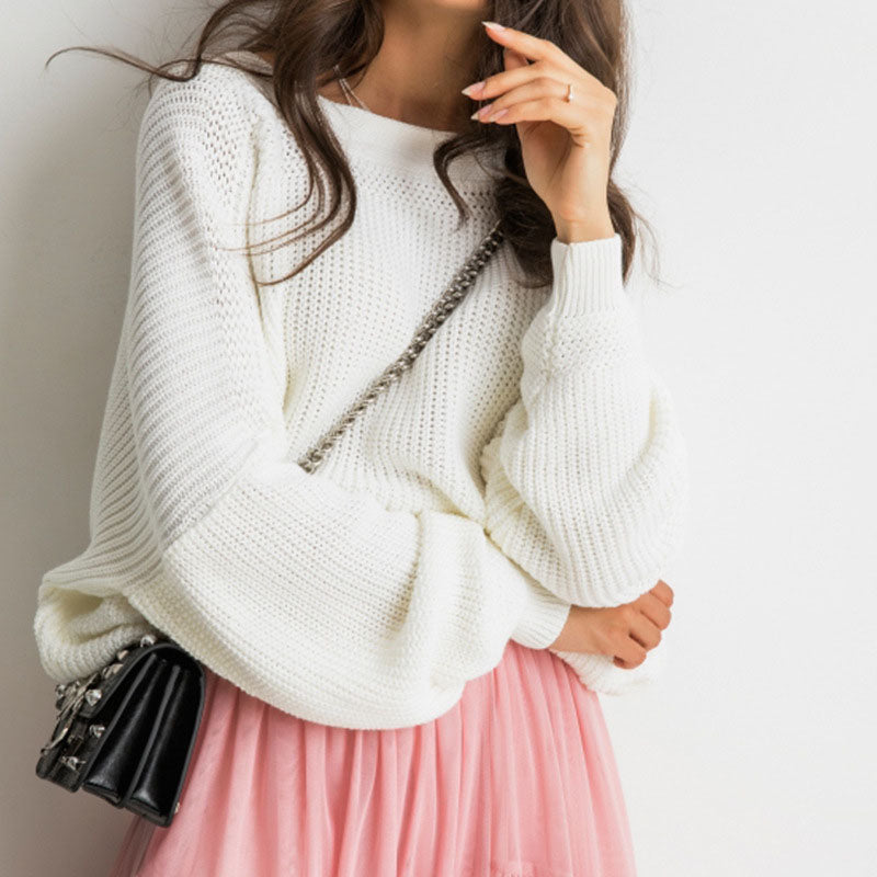 Oversized Balloon Sleeve Open Back Sweater