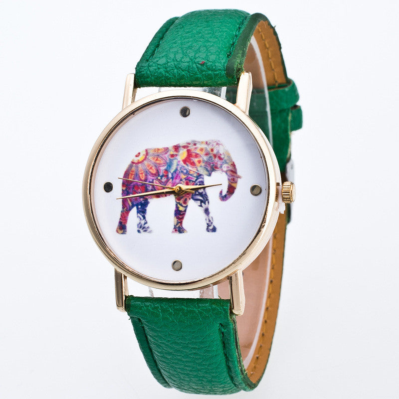Fashion Flower Elephant Print Watch
