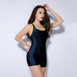 Patchwork Sports Boxer Bikini One Piece Swimwear