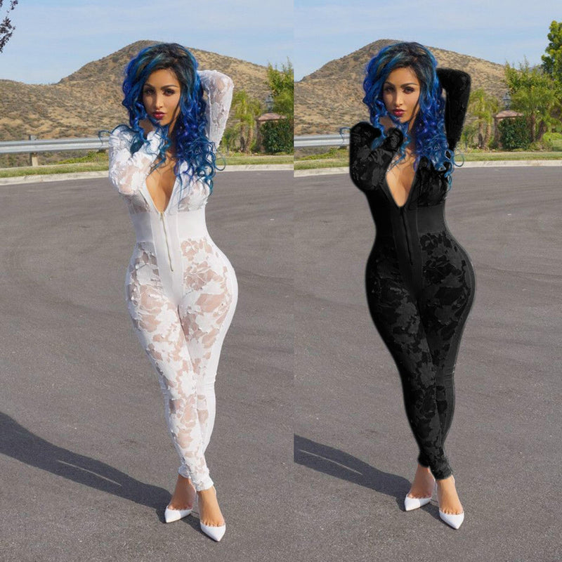 Deep V-neck Burn-out See-Through Zipper Long Jumpsuit