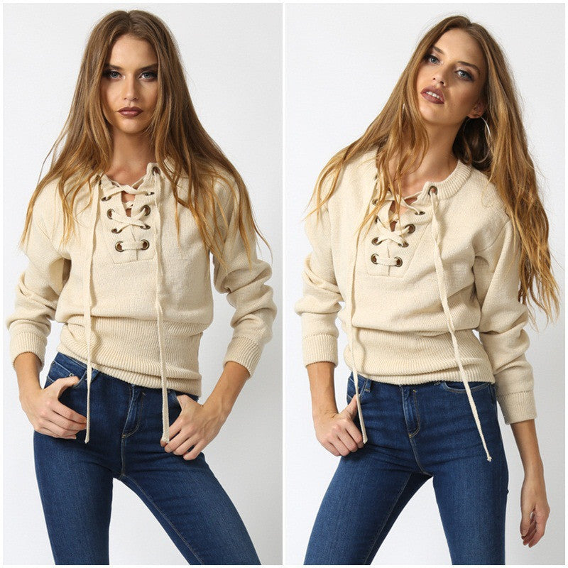 Sexy Lace Up V-Neck Long-Sleeve Sweater