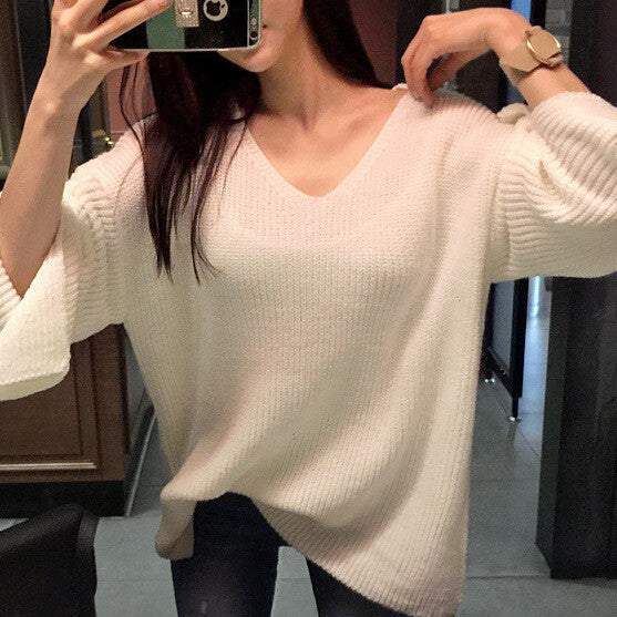 Loose Splitting V Neck Loose Sweater