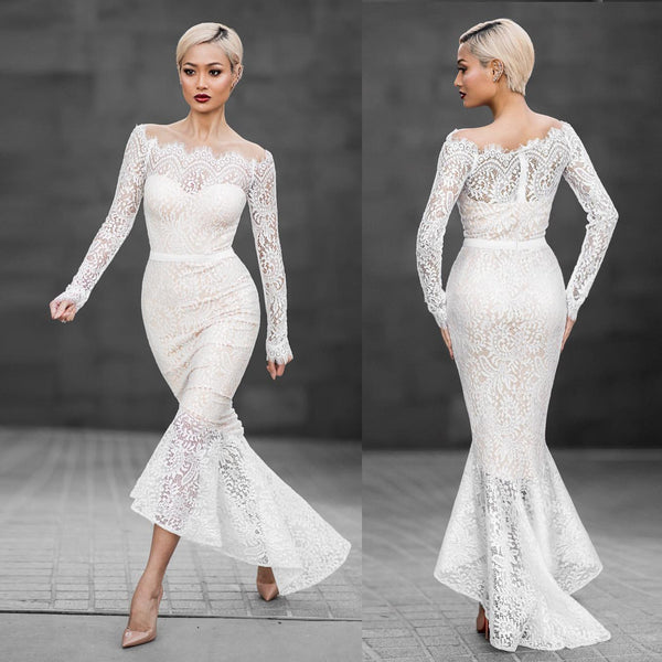Beautiful White Off Shoulder Lace Mermaid Dress