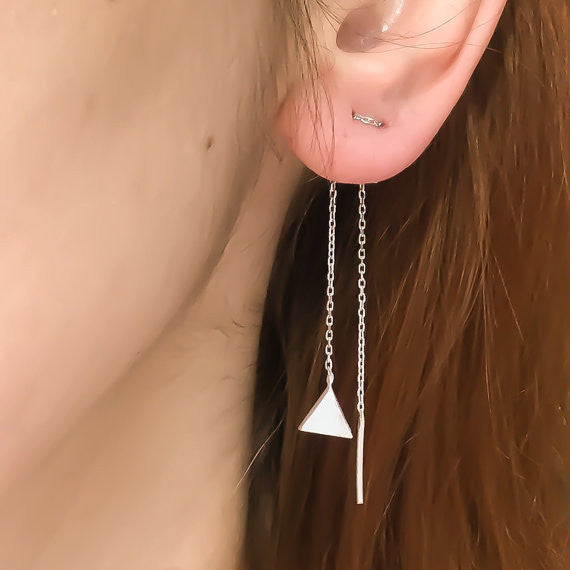 Creative Geometry Triangles Tassel Earrings