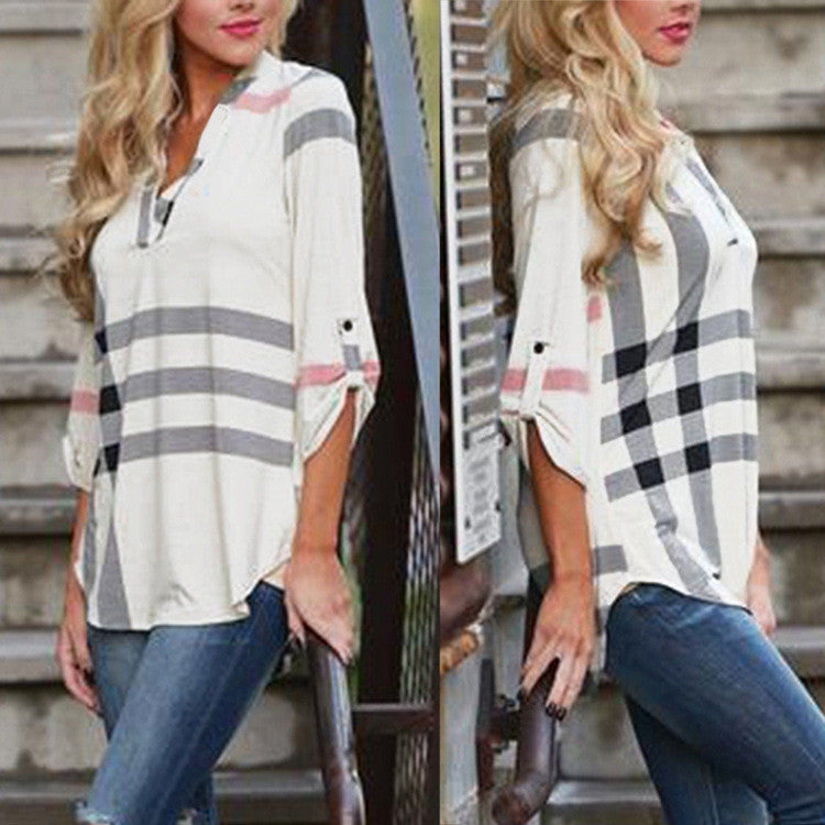 V-neck Plaid Print 3/4 Sleeves Loose Blouse