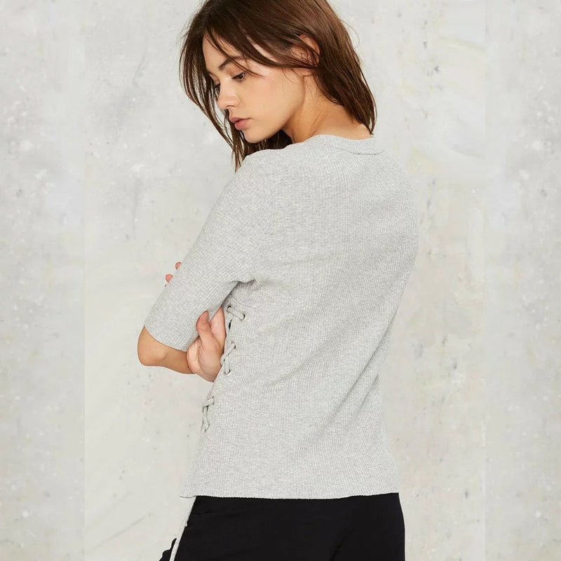 Fashsion Side Lace Up Pull Over Sweater