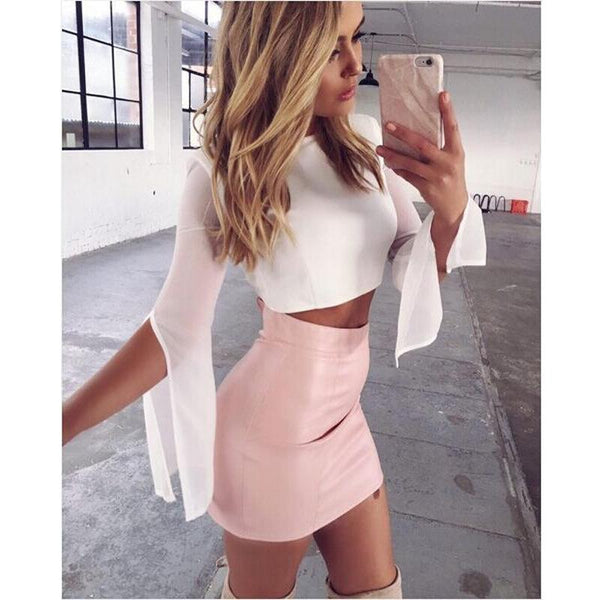 Bodycon Pure Color Slim Short Skirt