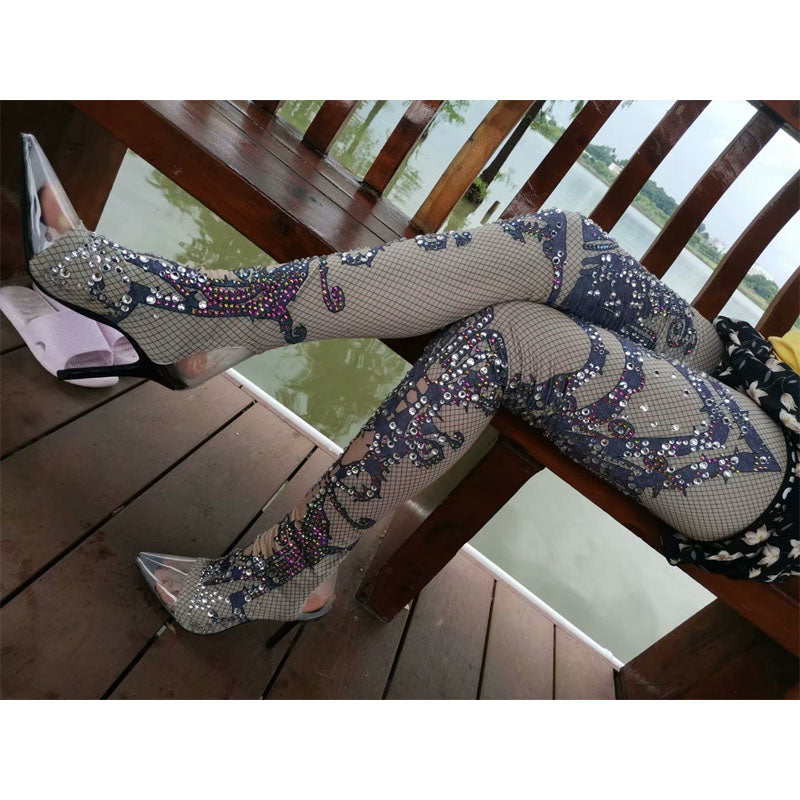 Party Rhinestone High Heel Clear Toe Tight High Boots