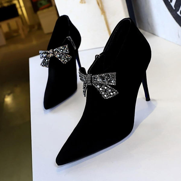Suede Bow Rhinestone Point Toe High Heel Ankle Boots