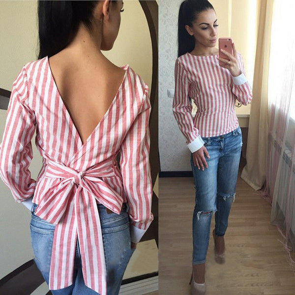 Sexy Backless Stripe Lace Up Flax Blouse